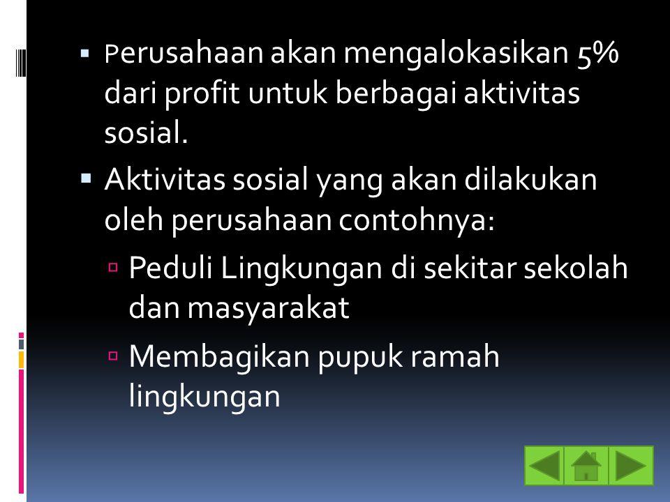 Aktivitas sosial yang akan dilakukan oleh perusahaan contohnya: