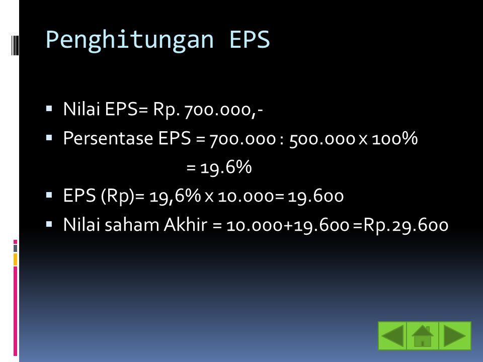 Penghitungan EPS Nilai EPS= Rp. 700.000,-
