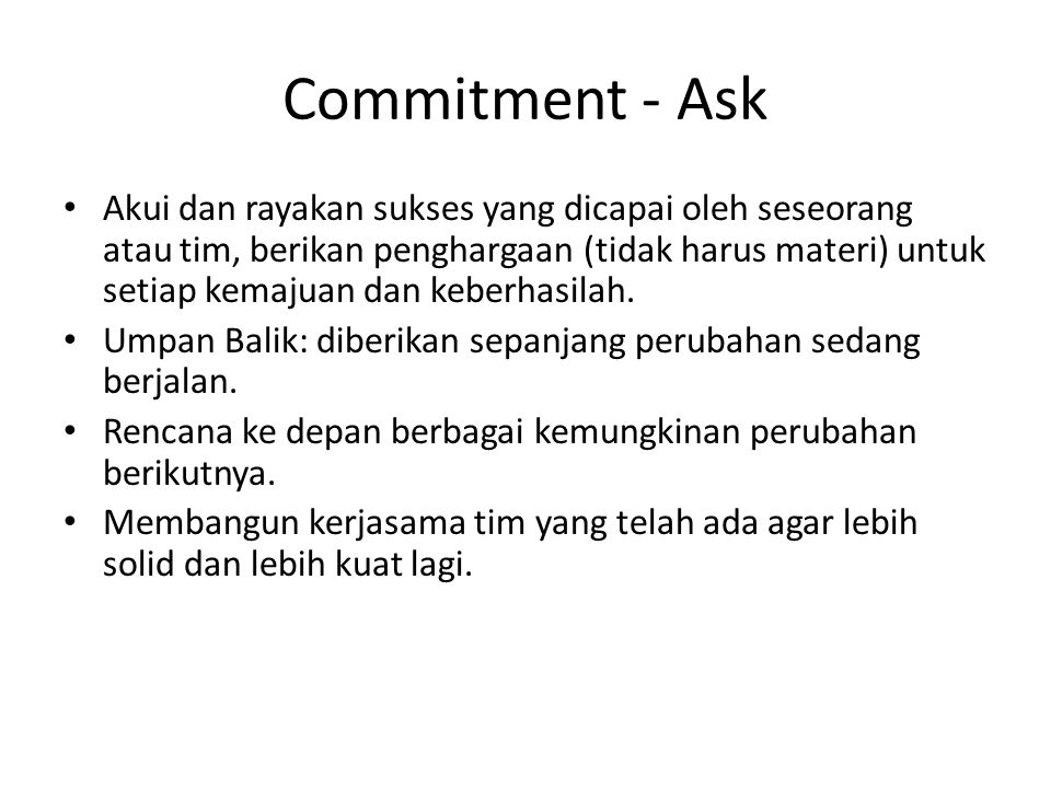 Commitment - Ask