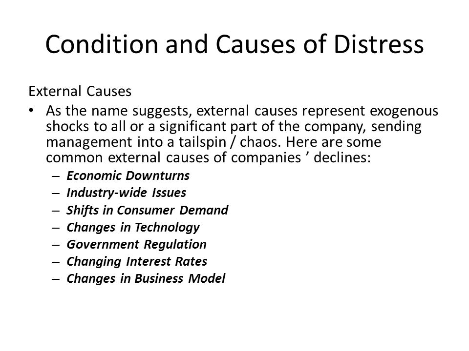 Condition and Causes of Distress