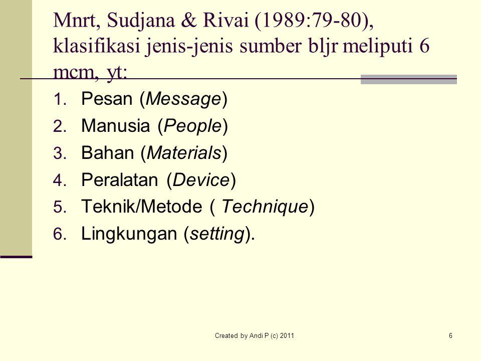 Mnrt, Sudjana & Rivai (1989:79-80), klasifikasi jenis-jenis sumber bljr meliputi 6 mcm, yt: