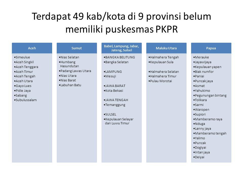 Terdapat 49 kab/kota di 9 provinsi belum memiliki puskesmas PKPR