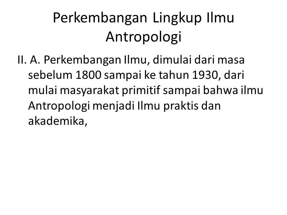 Perkembangan Lingkup Ilmu Antropologi