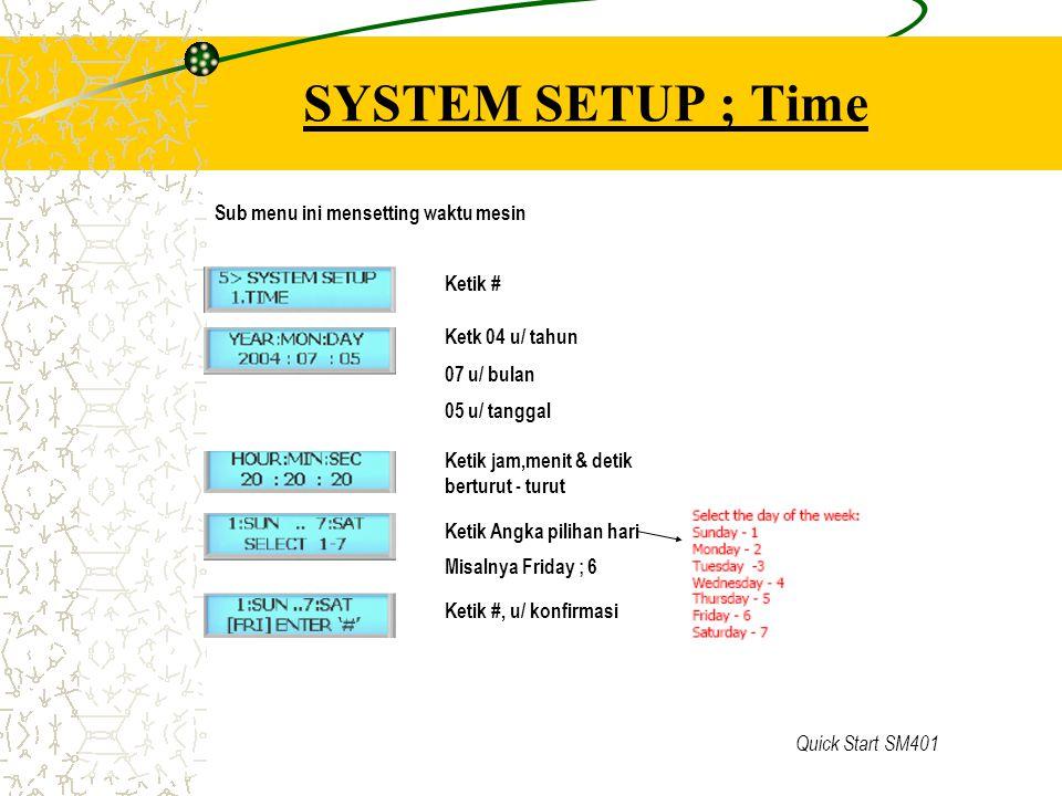 SYSTEM SETUP ; Time Sub menu ini mensetting waktu mesin Ketik #
