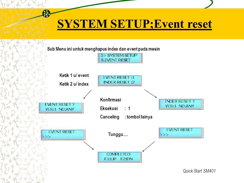 SYSTEM SETUP;Event reset