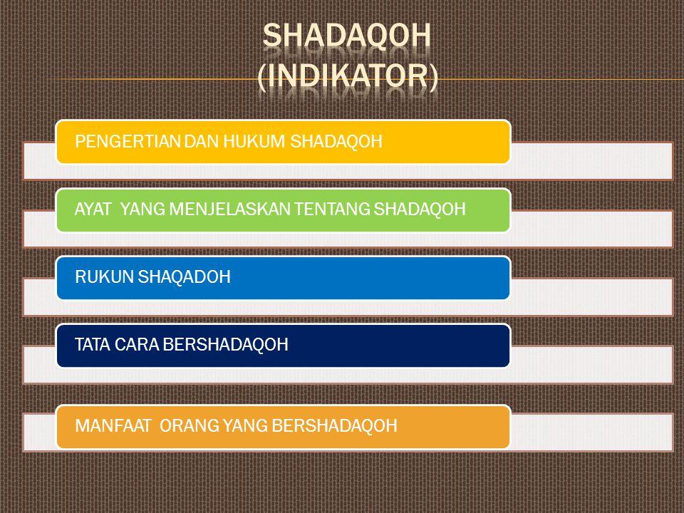 SHADAQOH (INDIKATOR) PENGERTIAN DAN HUKUM SHADAQOH