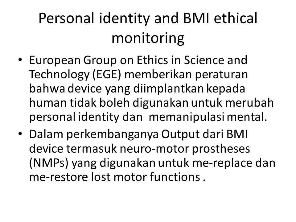 Personal identity and BMI ethical monitoring