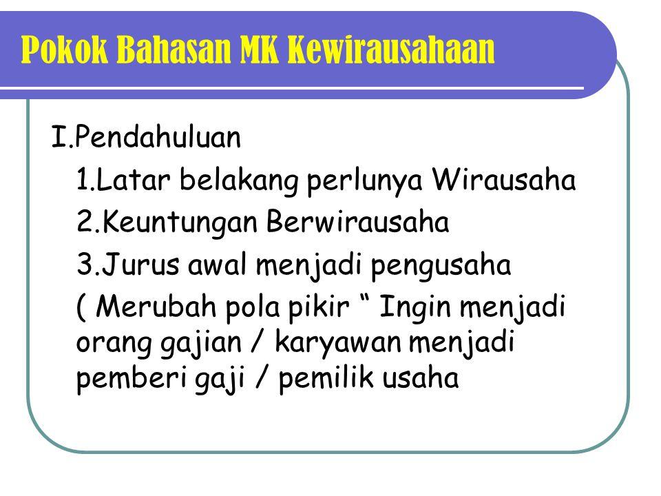 Pokok Bahasan MK Kewirausahaan
