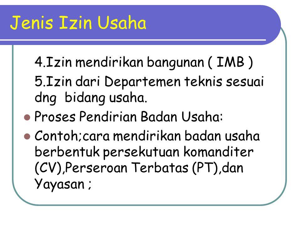 Jenis Izin Usaha 4.Izin mendirikan bangunan ( IMB )