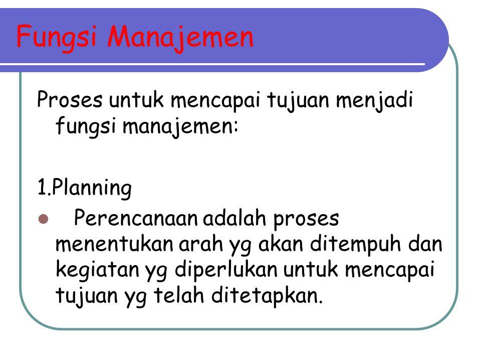 Fungsi Manajemen Proses untuk mencapai tujuan menjadi fungsi manajemen: 1.Planning.