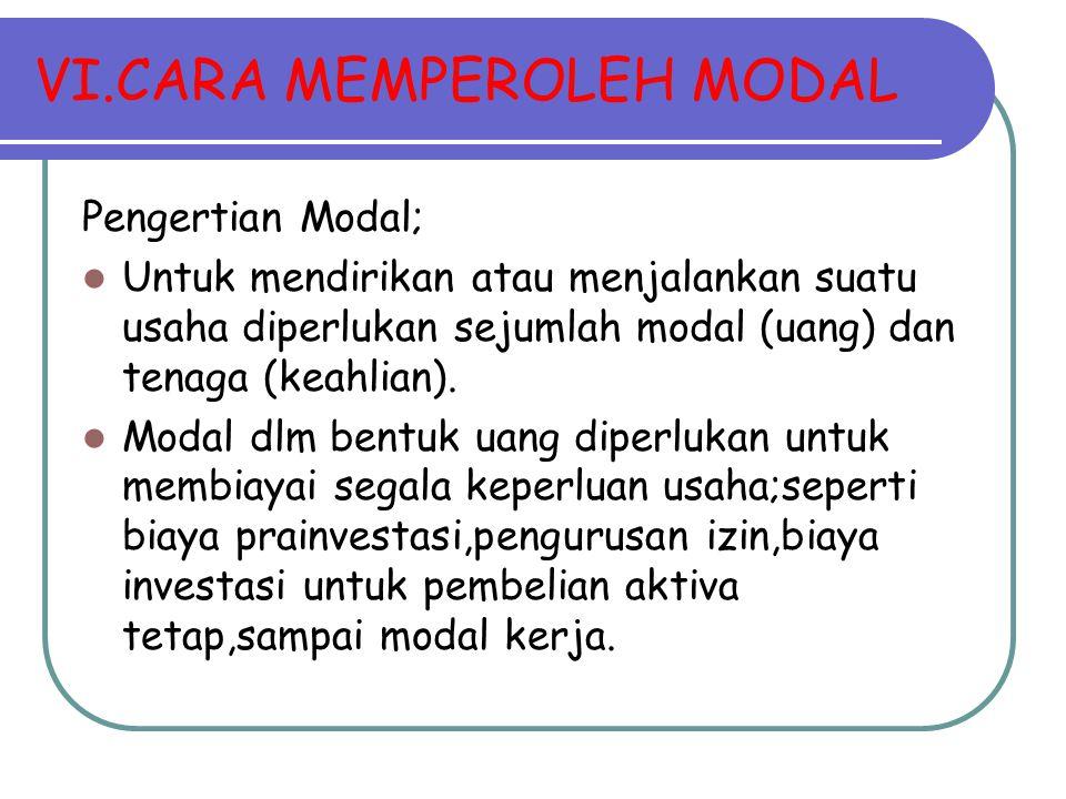 VI.CARA MEMPEROLEH MODAL