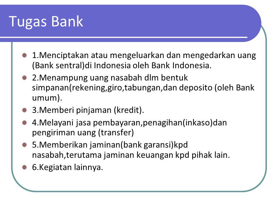 Tugas Bank 1.Menciptakan atau mengeluarkan dan mengedarkan uang (Bank sentral)di Indonesia oleh Bank Indonesia.