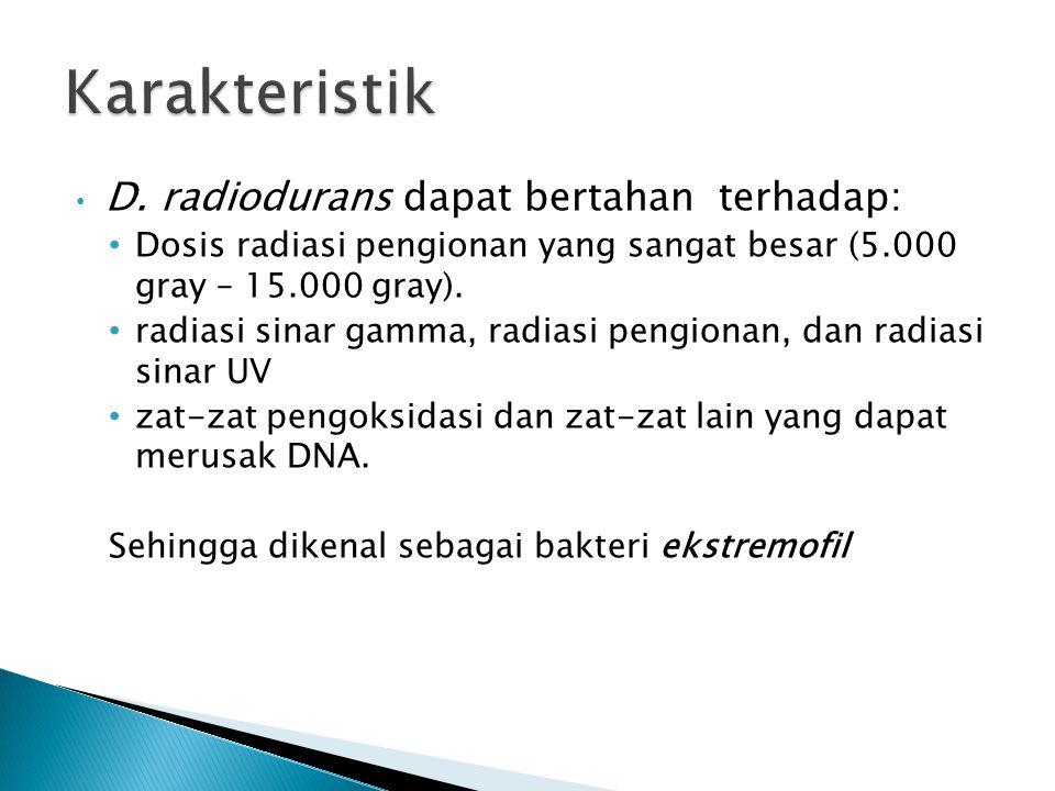 Karakteristik D. radiodurans dapat bertahan terhadap: