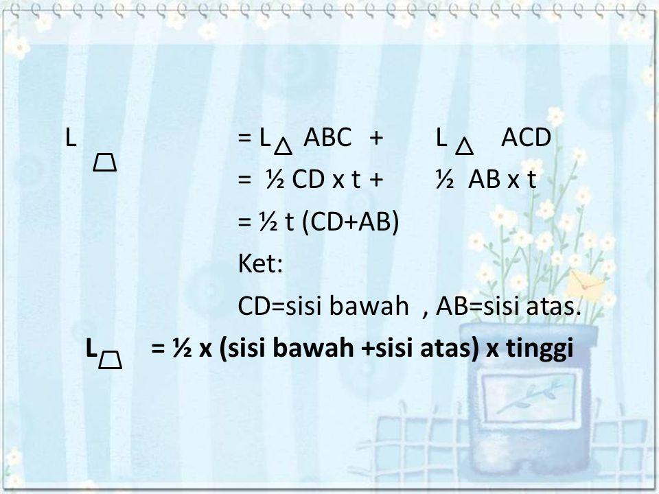 L = L ABC + L ACD = ½ CD x t + ½ AB x t = ½ t (CD+AB) Ket: CD=sisi bawah , AB=sisi atas.