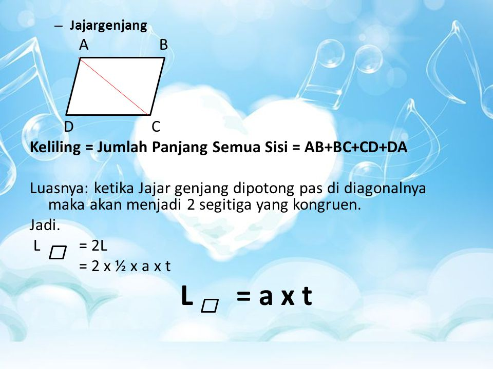 L = a x t A B D C Keliling = Jumlah Panjang Semua Sisi = AB+BC+CD+DA
