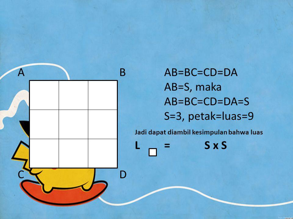 A B AB=BC=CD=DA AB=S, maka. AB=BC=CD=DA=S. S=3, petak=luas=9. Jadi dapat diambil kesimpulan bahwa luas.