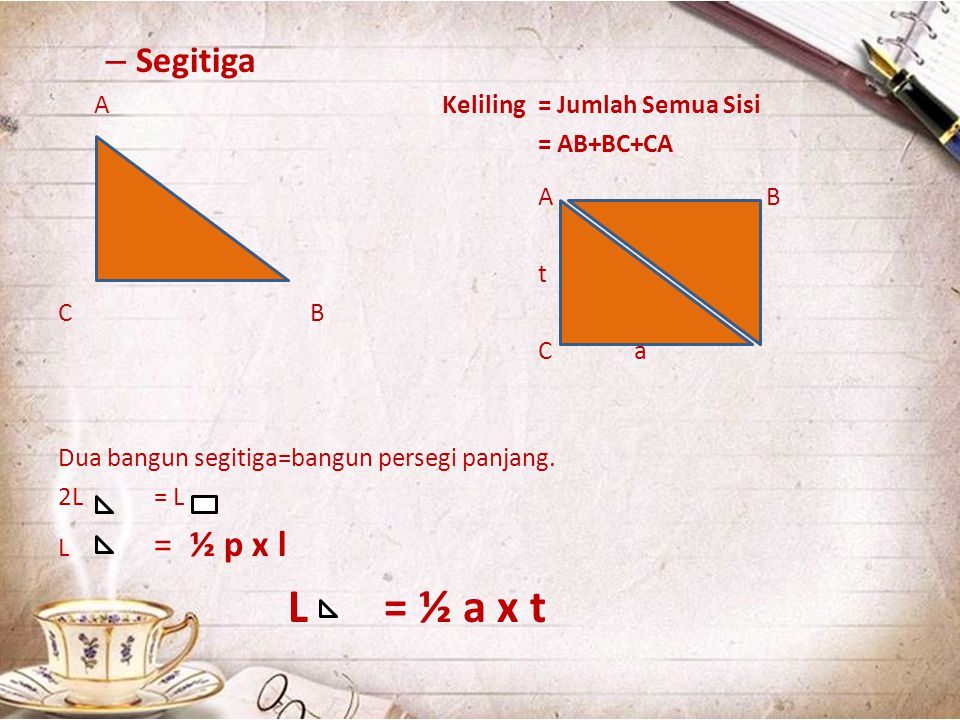L = ½ a x t Segitiga A Keliling = Jumlah Semua Sisi = AB+BC+CA A B t