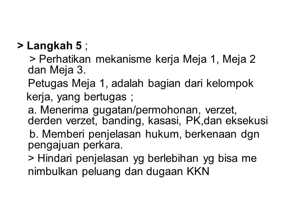 > Langkah 5 ; > Perhatikan mekanisme kerja Meja 1, Meja 2 dan Meja 3. Petugas Meja 1, adalah bagian dari kelompok.