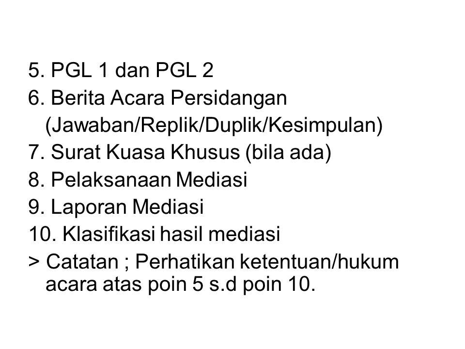 5. PGL 1 dan PGL 2 6. Berita Acara Persidangan. (Jawaban/Replik/Duplik/Kesimpulan) 7. Surat Kuasa Khusus (bila ada)