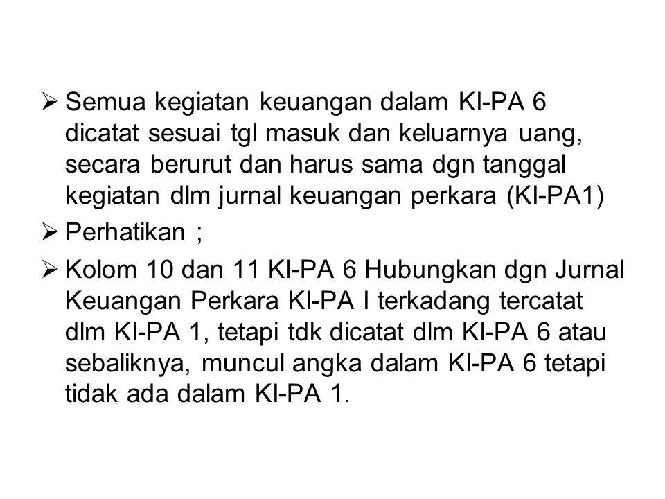 Semua kegiatan keuangan dalam KI-PA 6 dicatat sesuai tgl masuk dan keluarnya uang, secara berurut dan harus sama dgn tanggal kegiatan dlm jurnal keuangan perkara (KI-PA1)