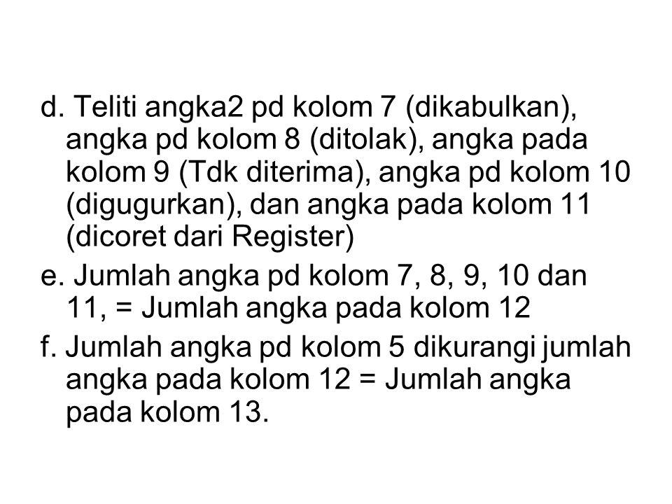 d. Teliti angka2 pd kolom 7 (dikabulkan), angka pd kolom 8 (ditolak), angka pada kolom 9 (Tdk diterima), angka pd kolom 10 (digugurkan), dan angka pada kolom 11 (dicoret dari Register)