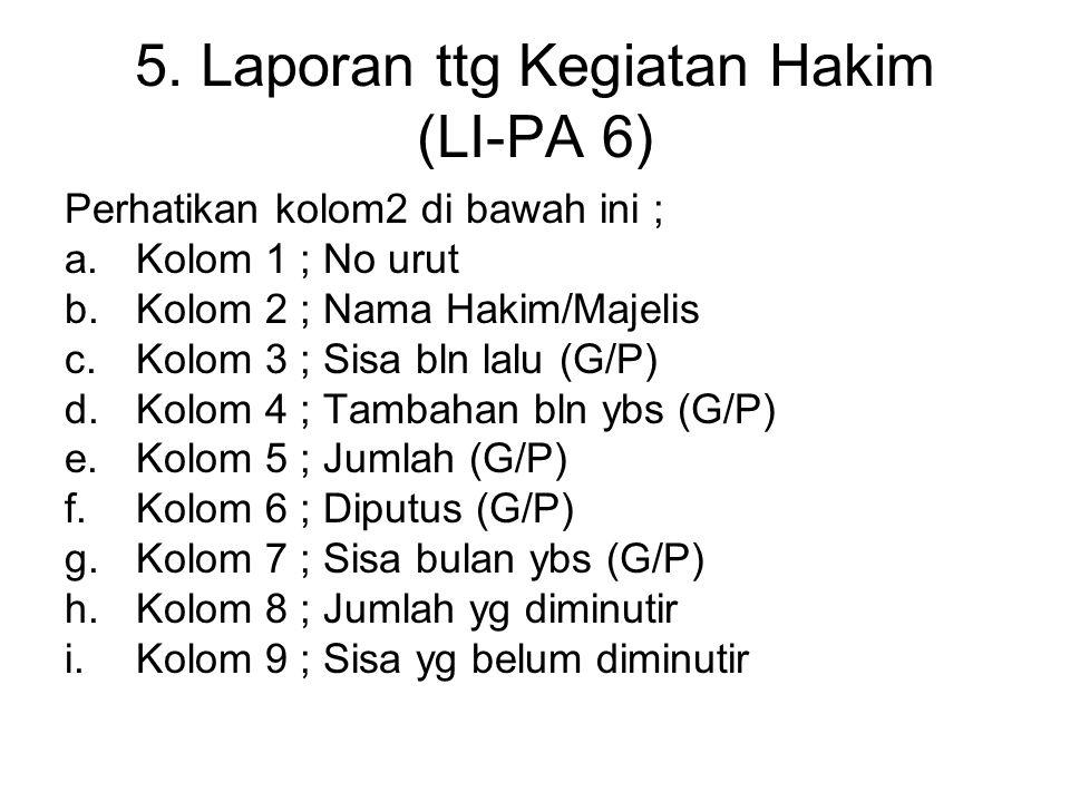 5. Laporan ttg Kegiatan Hakim (LI-PA 6)