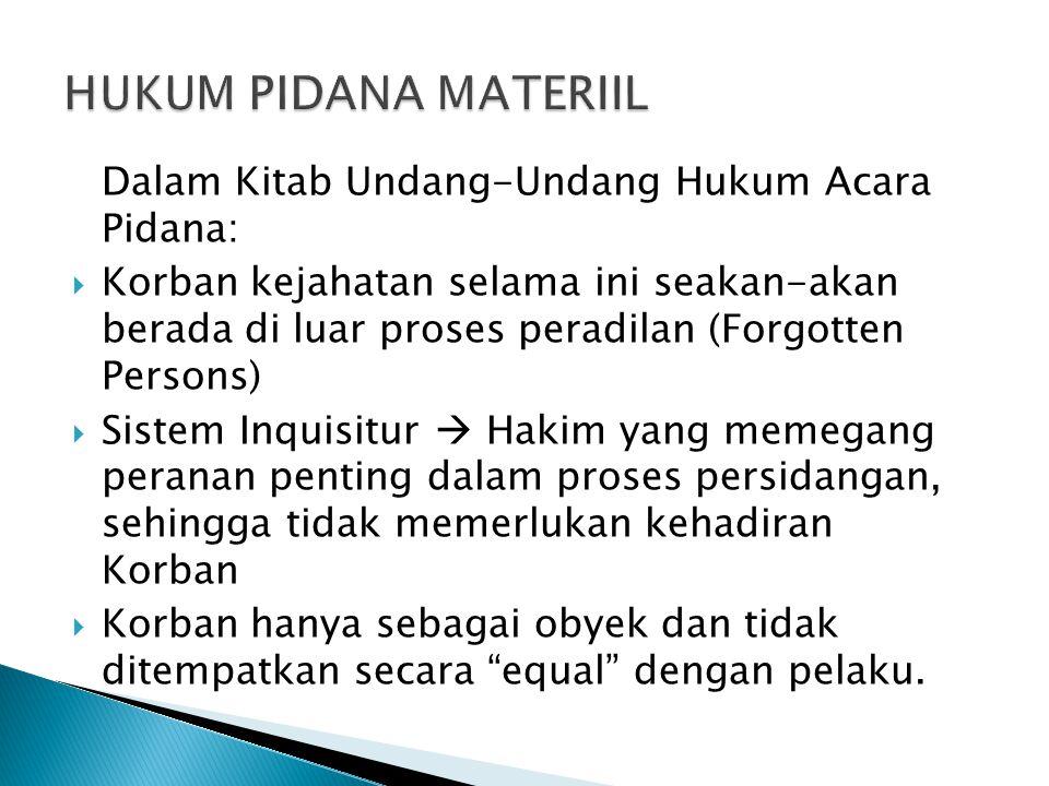 HUKUM PIDANA MATERIIL Dalam Kitab Undang-Undang Hukum Acara Pidana: