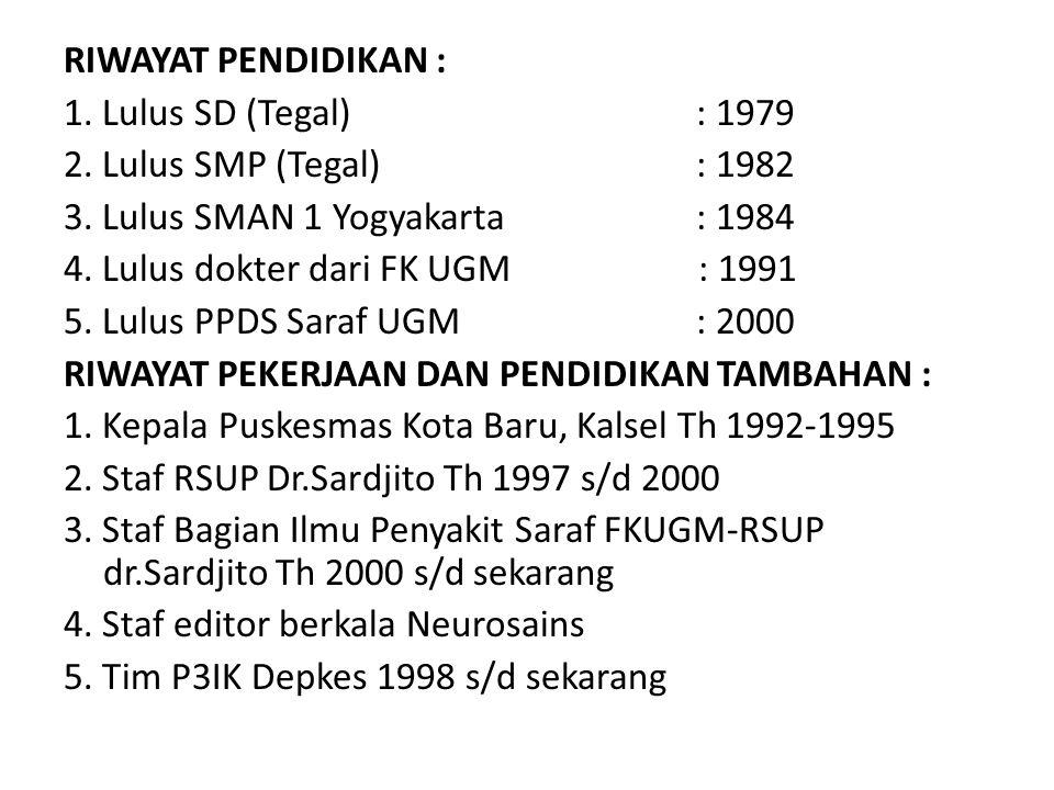 RIWAYAT PENDIDIKAN : 1. Lulus SD (Tegal) : 1979. 2. Lulus SMP (Tegal) : 1982. 3. Lulus SMAN 1 Yogyakarta : 1984.