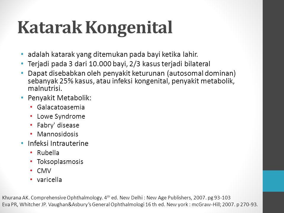 Katarak Kongenital adalah katarak yang ditemukan pada bayi ketika lahir. Terjadi pada 3 dari 10.000 bayi, 2/3 kasus terjadi bilateral.