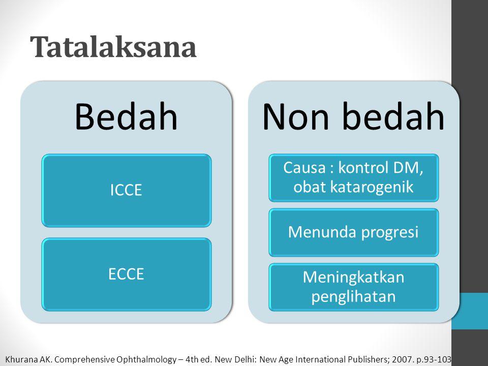 Bedah Non bedah Tatalaksana Causa : kontrol DM, obat katarogenik ICCE