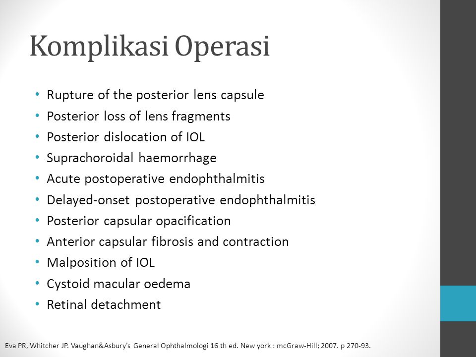 Komplikasi Operasi Rupture of the posterior lens capsule