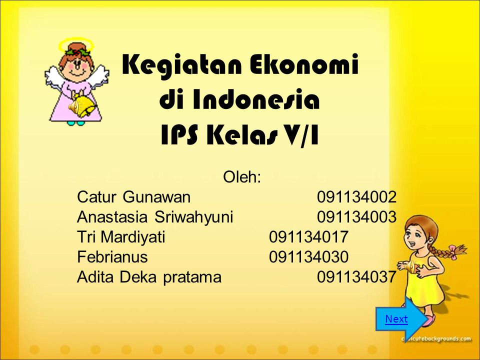 Kegiatan Ekonomi di Indonesia IPS Kelas V/I