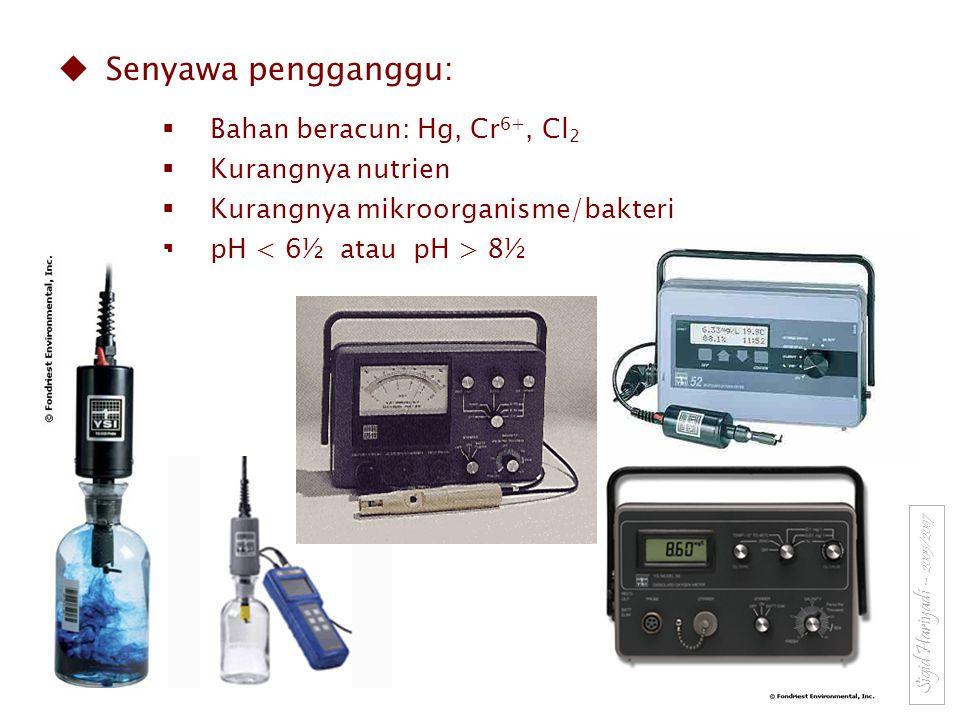 Senyawa pengganggu: Bahan beracun: Hg, Cr6+, Cl2 Kurangnya nutrien