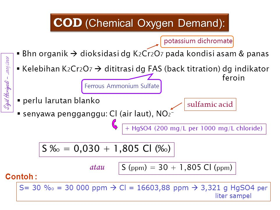 COD (Chemical Oxygen Demand):