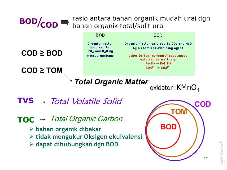 / Total Volatile Solid BOD COD COD ≥ BOD COD ≥ TOM