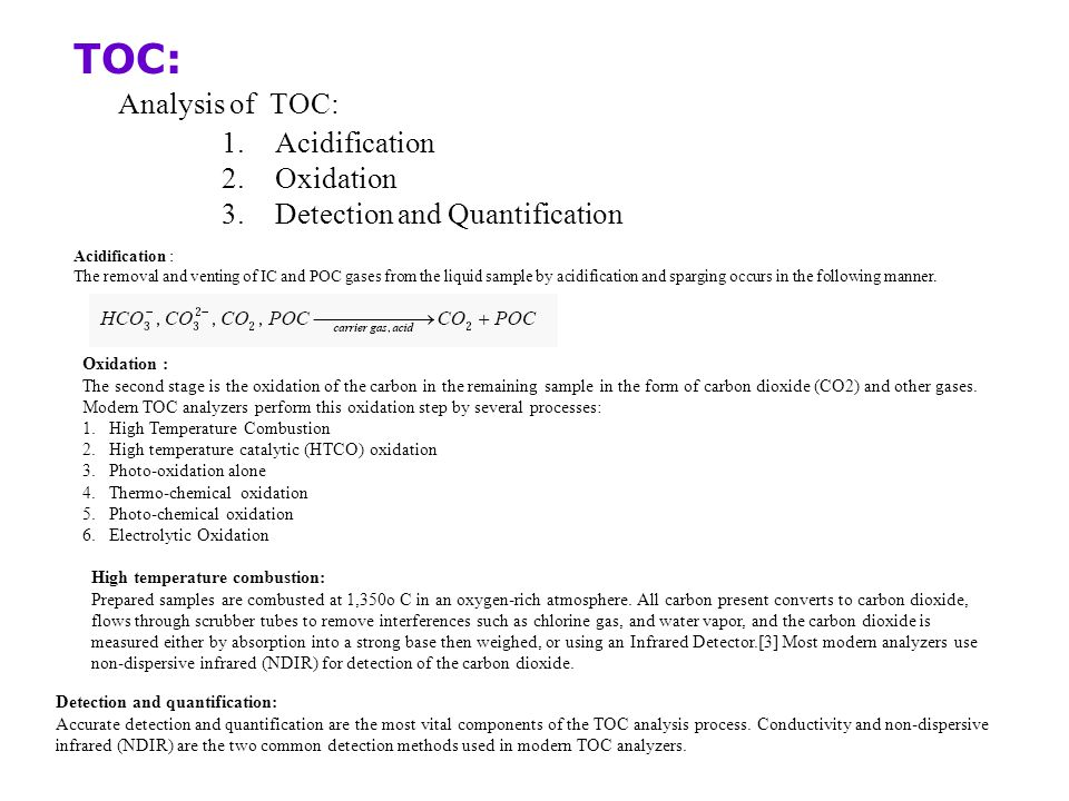 TOC: Analysis of TOC: Acidification Oxidation