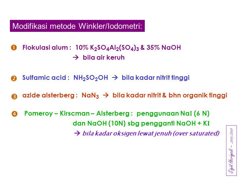 Modifikasi metode Winkler/Iodometri: