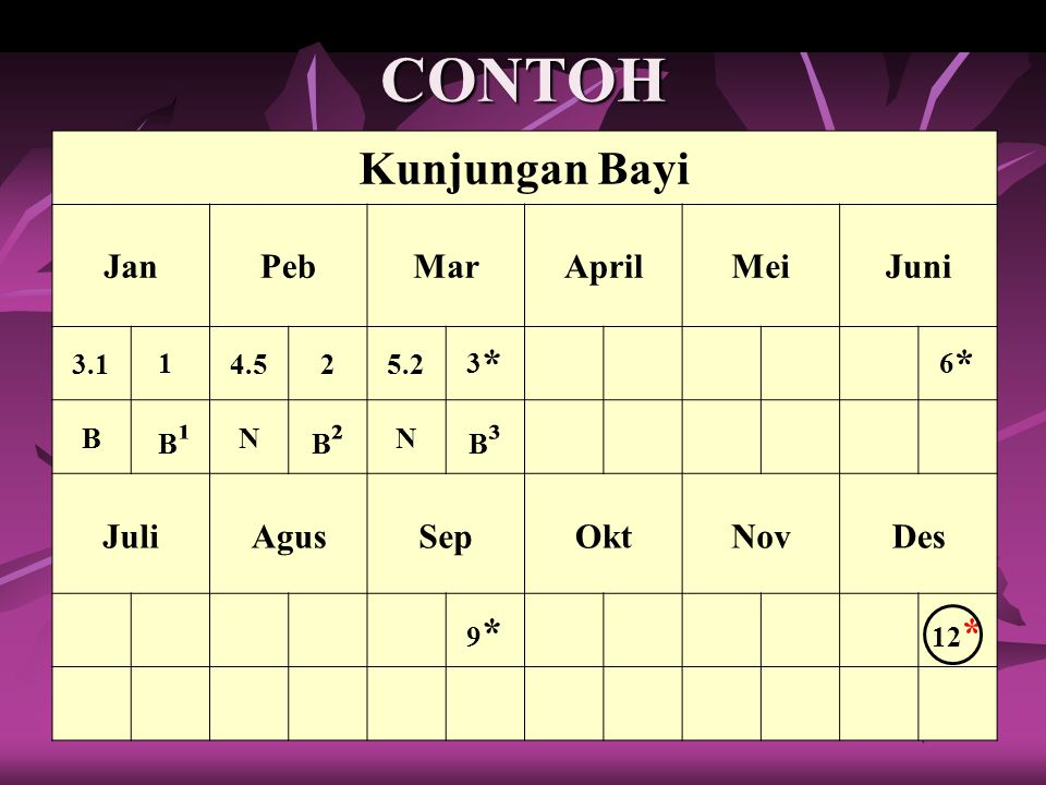 CONTOH Kunjungan Bayi Jan Peb Mar April Mei Juni Juli Agus Sep Okt Nov