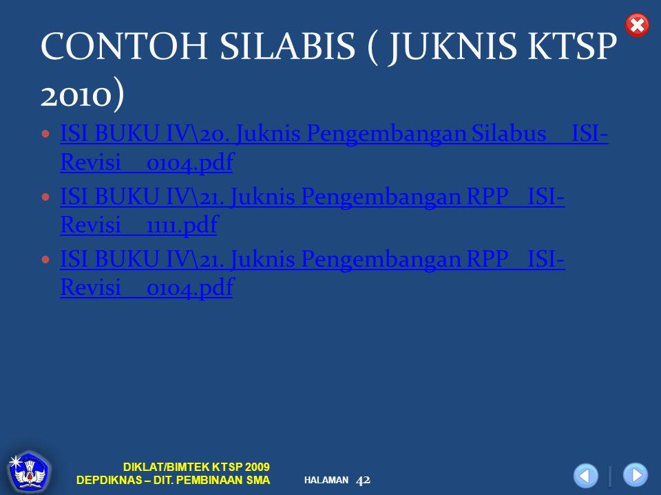 CONTOH SILABIS ( JUKNIS KTSP 2010)