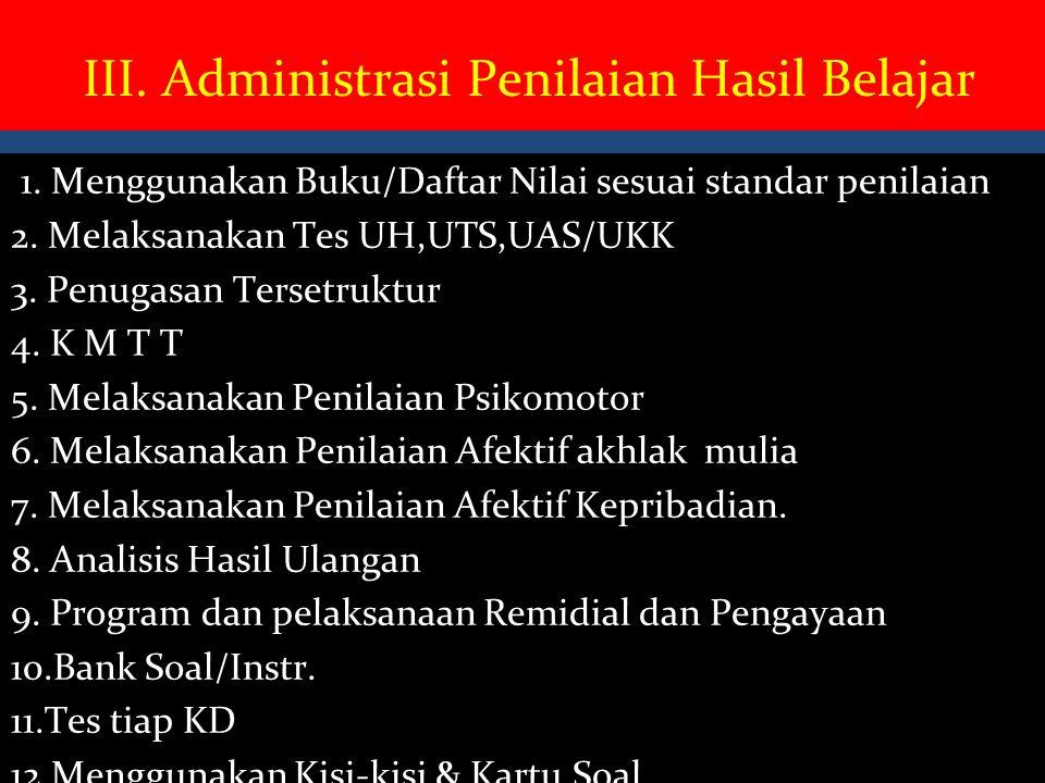 III. Administrasi Penilaian Hasil Belajar