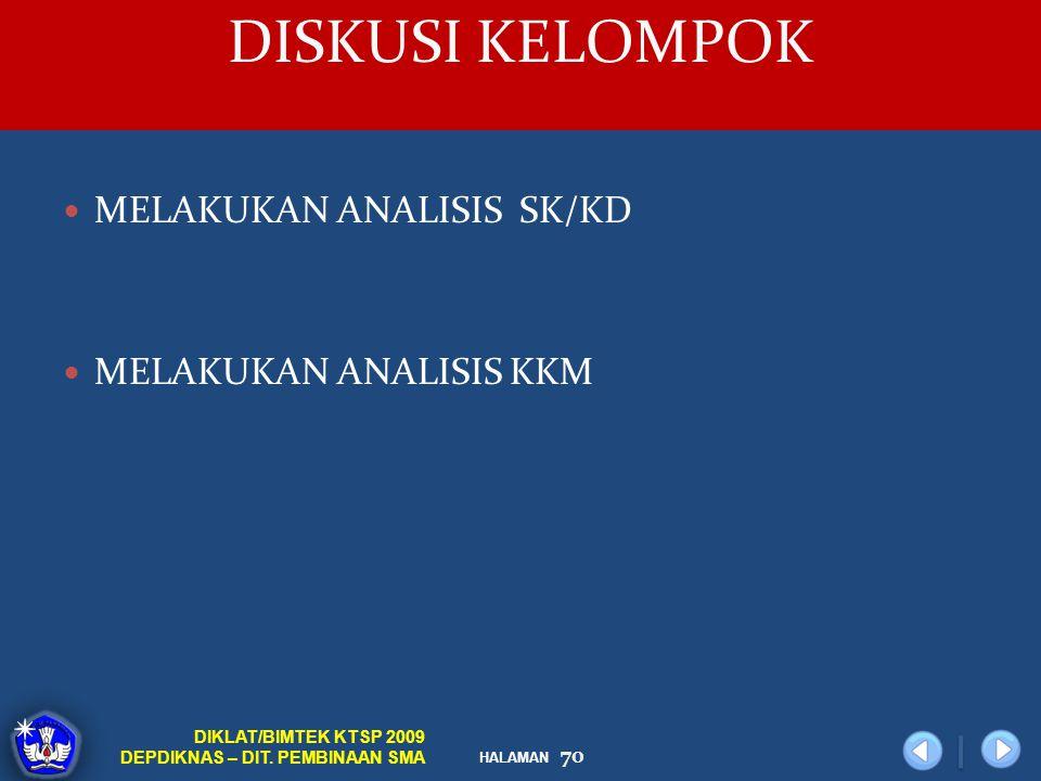 DISKUSI KELOMPOK MELAKUKAN ANALISIS SK/KD MELAKUKAN ANALISIS KKM
