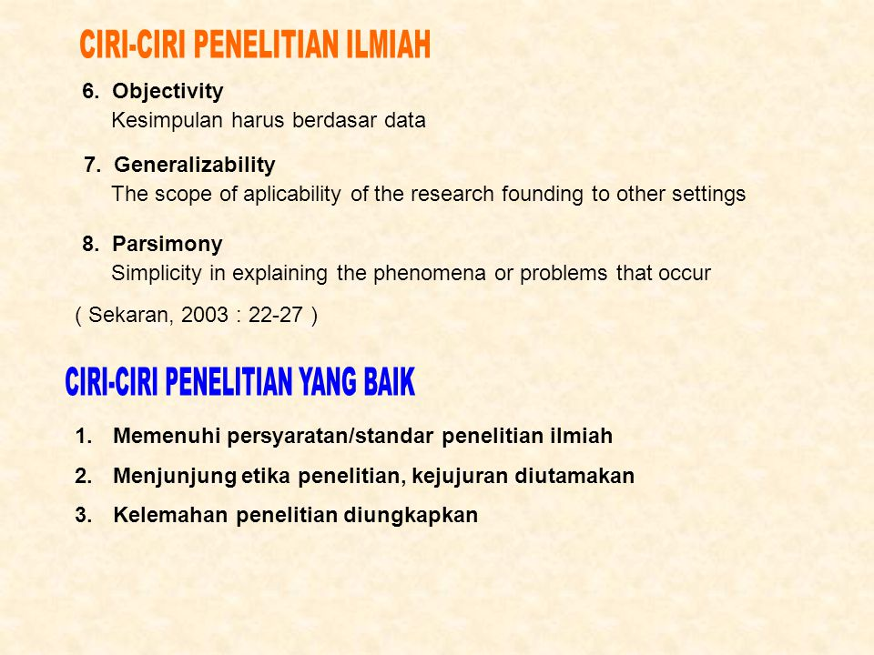 CIRI-CIRI PENELITIAN ILMIAH
