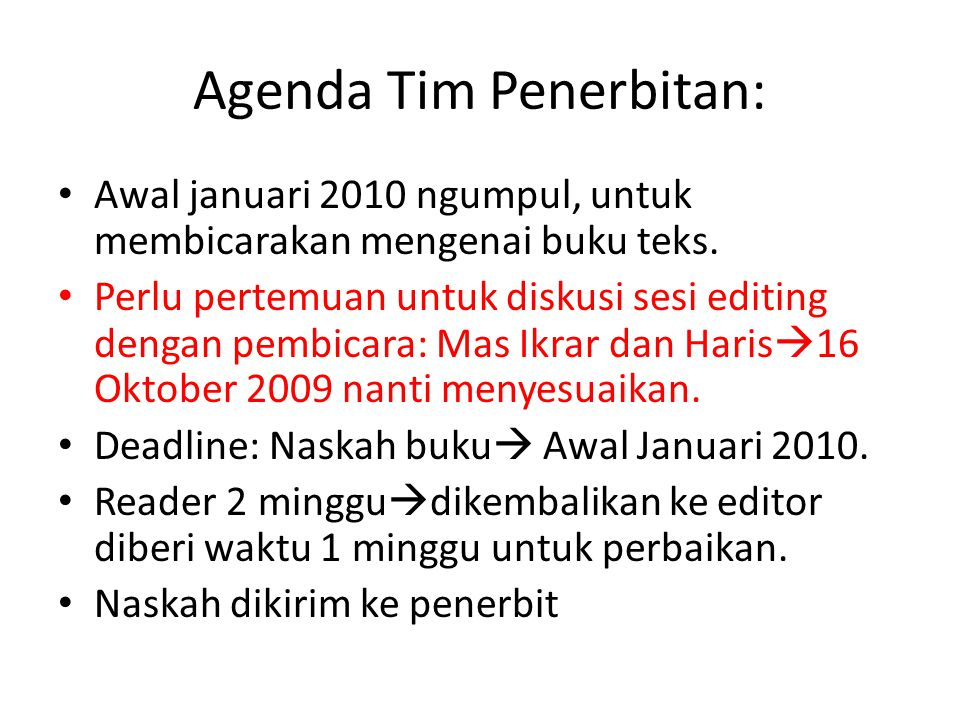 Agenda Tim Penerbitan: