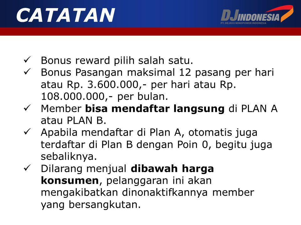 CATATAN Bonus reward pilih salah satu.