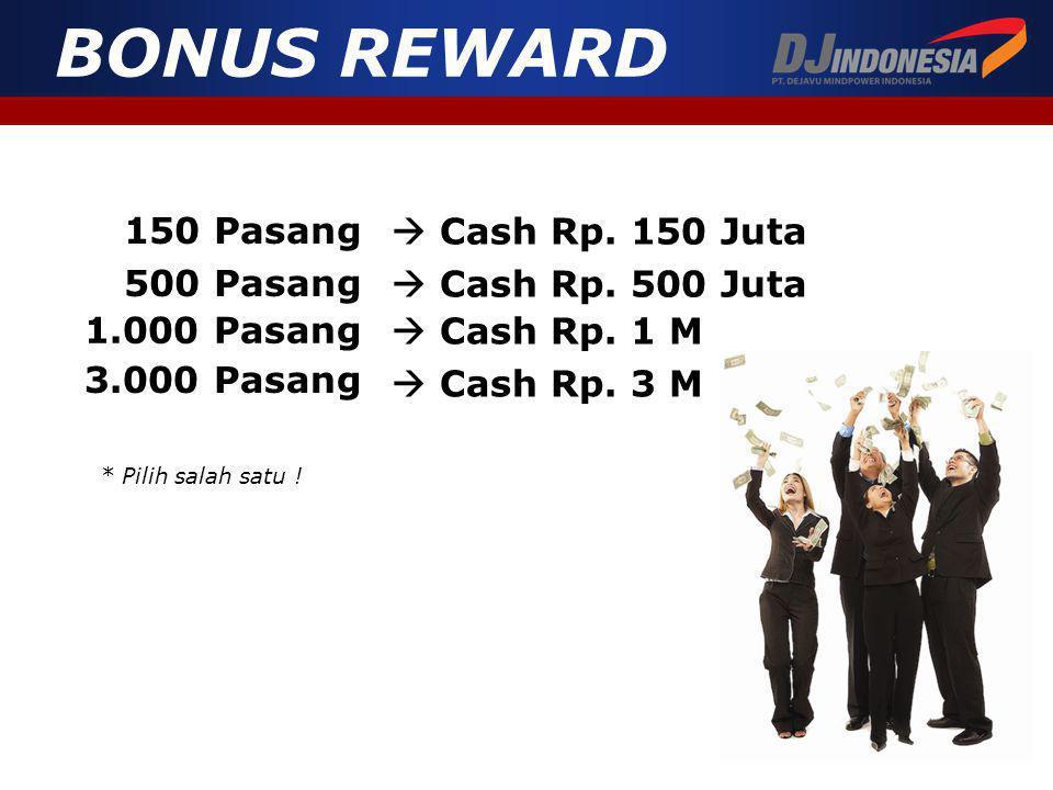 BONUS REWARD 150 Pasang  Cash Rp. 150 Juta 500 Pasang