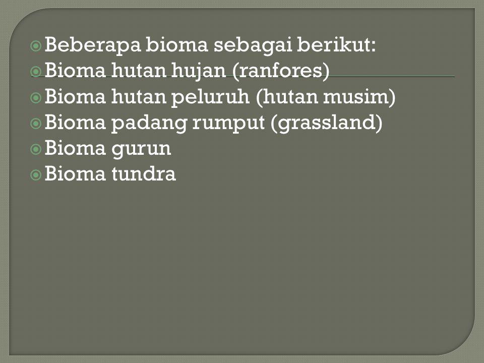 Beberapa bioma sebagai berikut: