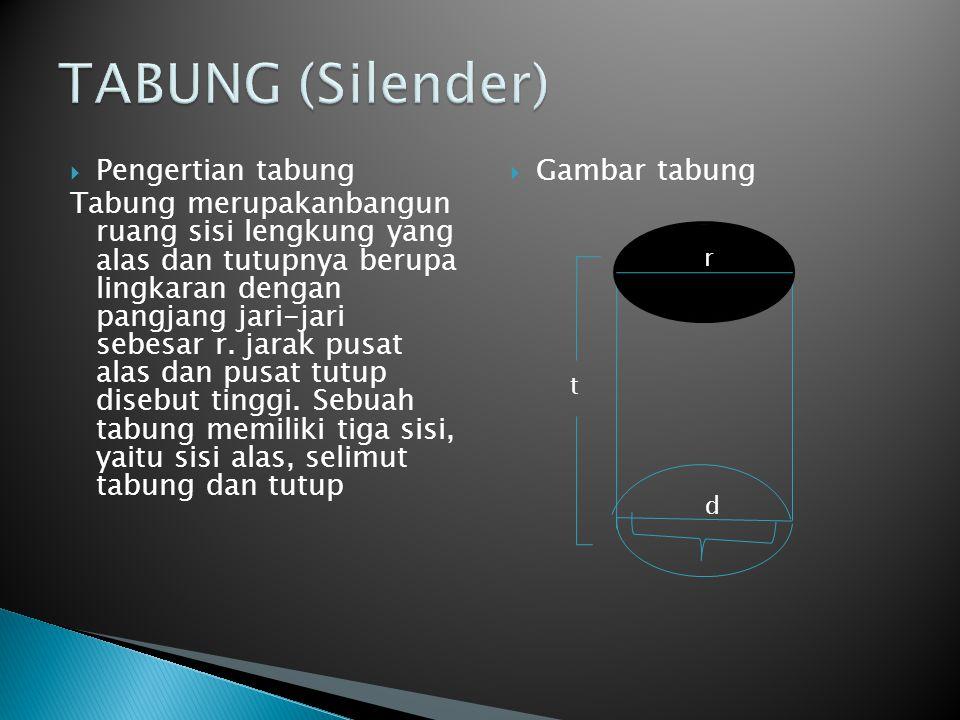 TABUNG (Silender) Pengertian tabung
