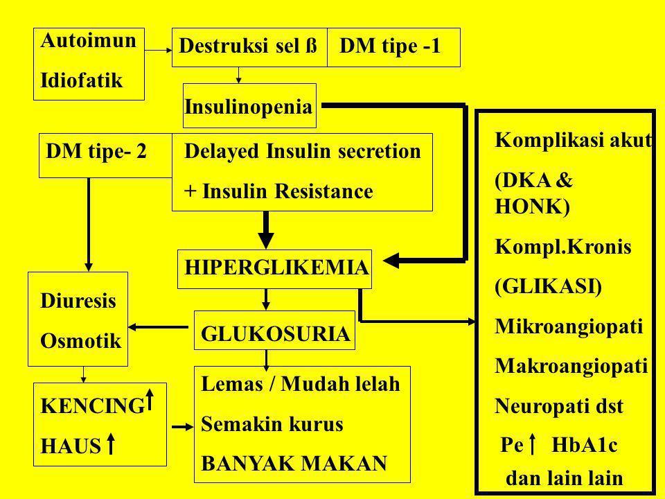 Autoimun Idiofatik. Destruksi sel ß. DM tipe -1. Insulinopenia. Komplikasi akut. (DKA & HONK) Kompl.Kronis.