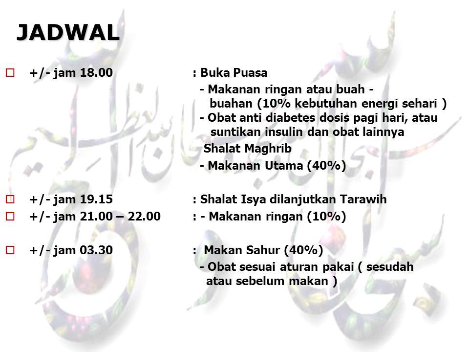 JADWAL +/- jam 18.00 : Buka Puasa