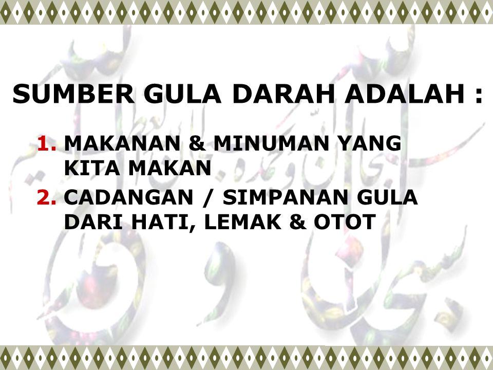 SUMBER GULA DARAH ADALAH :